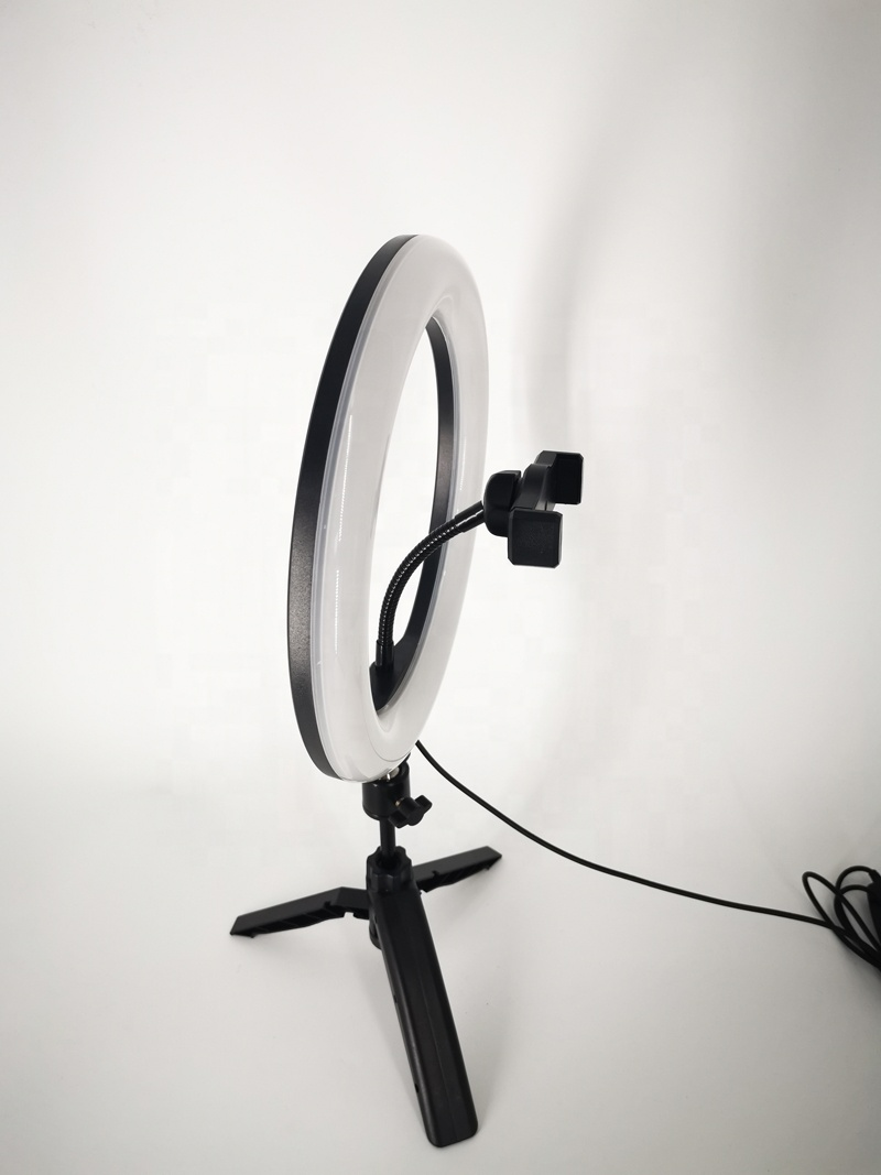 10 inch Mini LED Desktop Ring Light Stepless Dimming With Tripod Stand