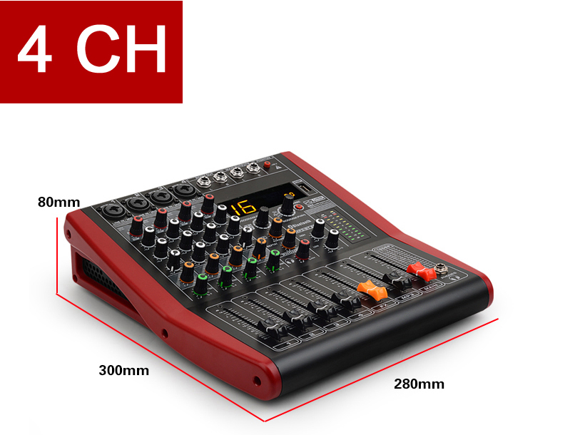 4 Channel Professional Audio Mixer with USB and Bluetooth