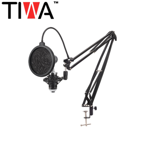 TIWA nb35 Adjustable Suspension Scissor Arm Stand for Condenser Microphone recording with big size pop filter