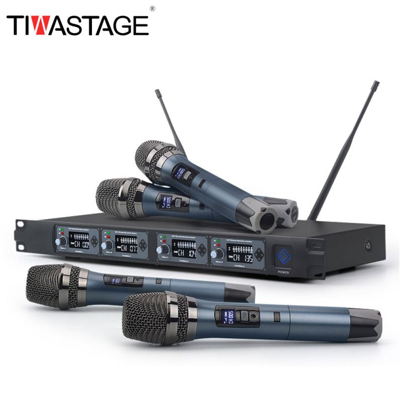 UHF 4 Channels Handheld Wireless Microphone System Cordless Mic Professional for Karaoke Singing