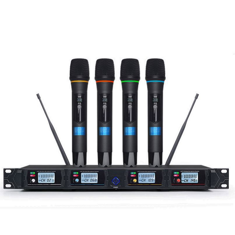Tiwa UHF 4 Channels Handheld Wireless Microfone System Cordless Mic Professional for Karaoke Singing