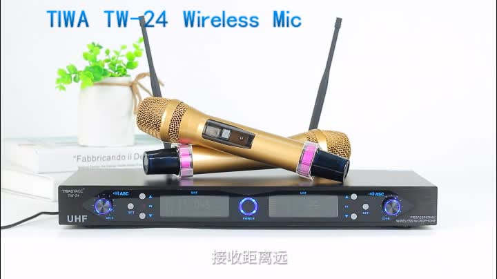 Good reception true diversity wireless microphone with 2 Handheld