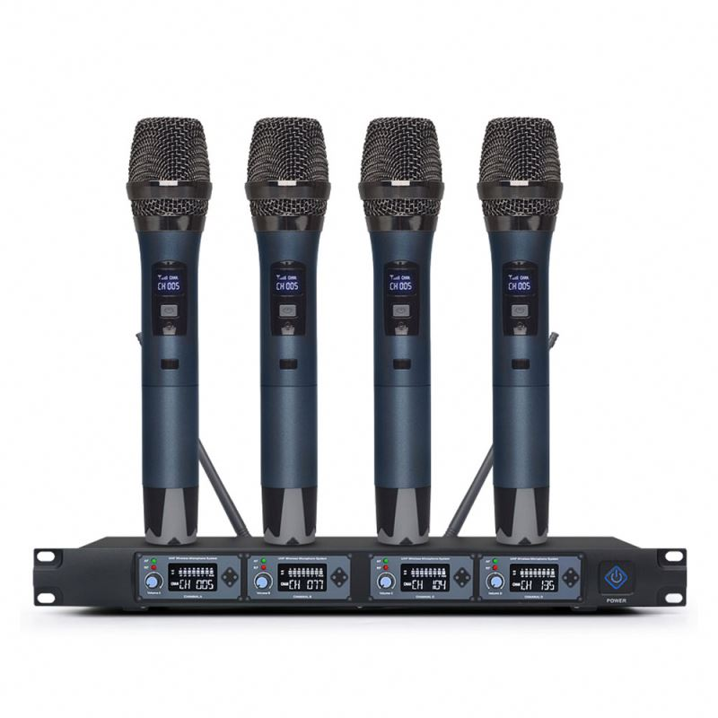Good Sound quality 4 channels UHF wireless professional studio microphone