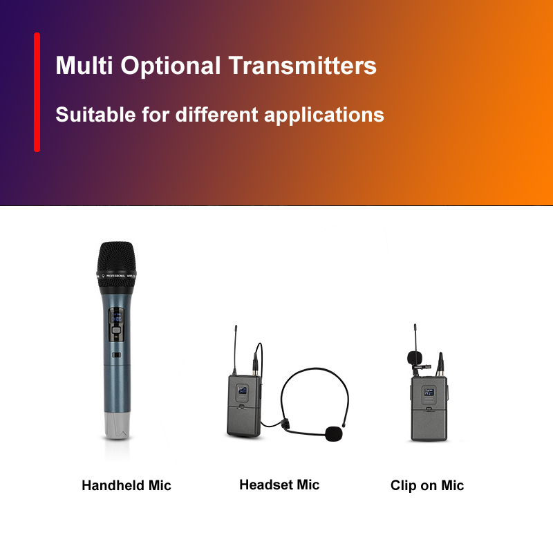 Factory sell Tw40 4 channel UHF wireless Microphone