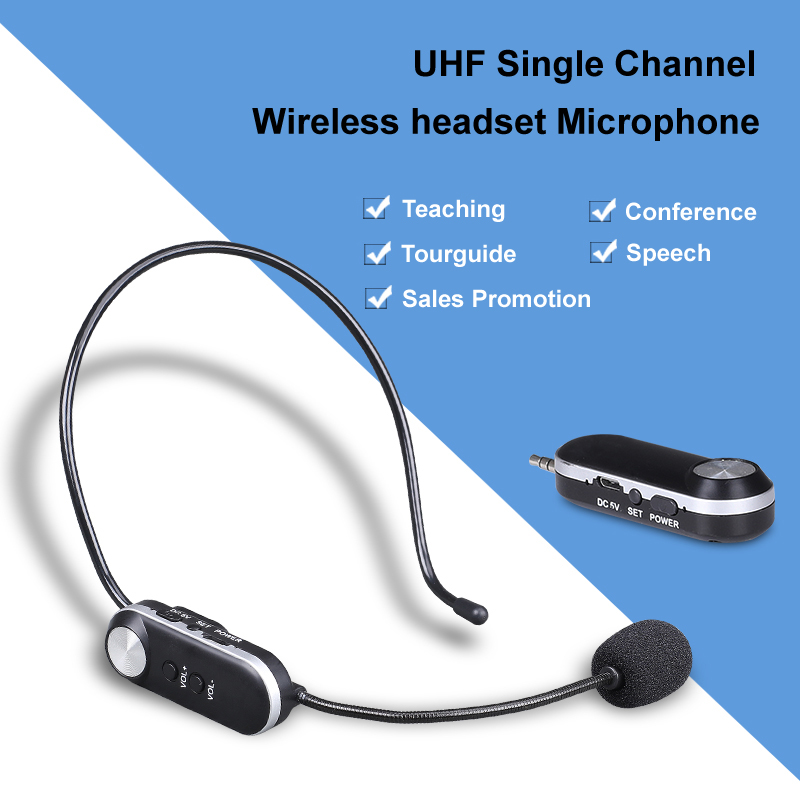 UHF wireless headset microphone for churches teaching