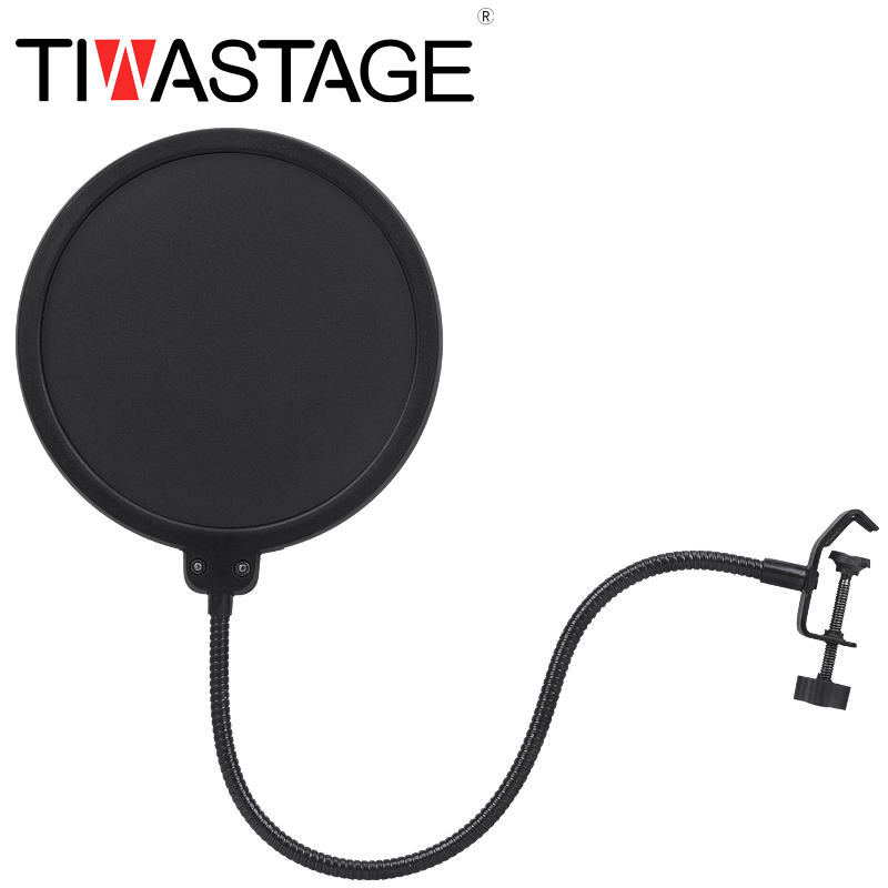 Tiwa Pop filter for microphone Recording Double Layer Microphone Flexible Wind Screen Mask Mic Pop Filter Shield